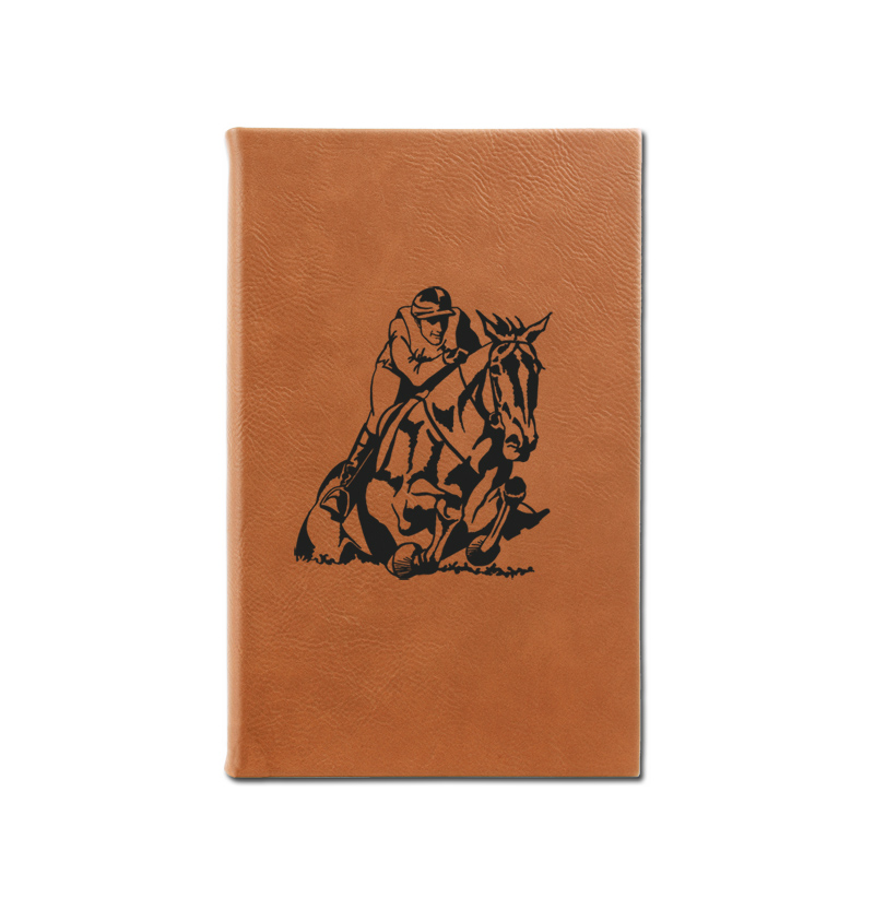 Personalized leatherette journal with custom engraved horse design 3 and text.