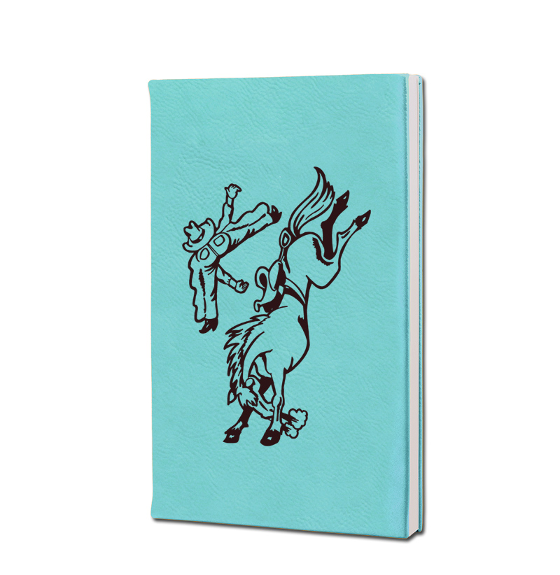 Personalized leatherette journal with custom engraved horse design 6 and text.