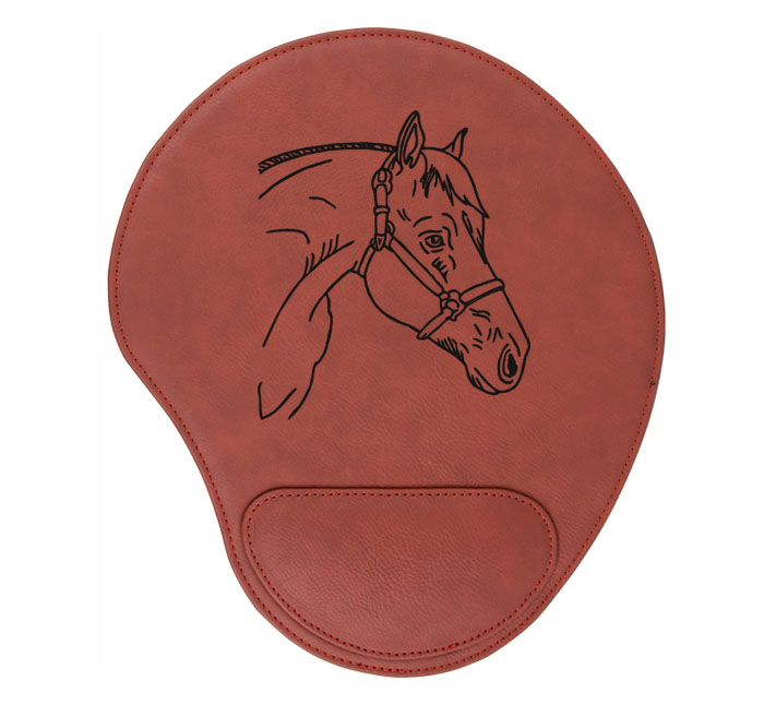 Personalized leatherette mouse pad with custom engraved horse design and text.