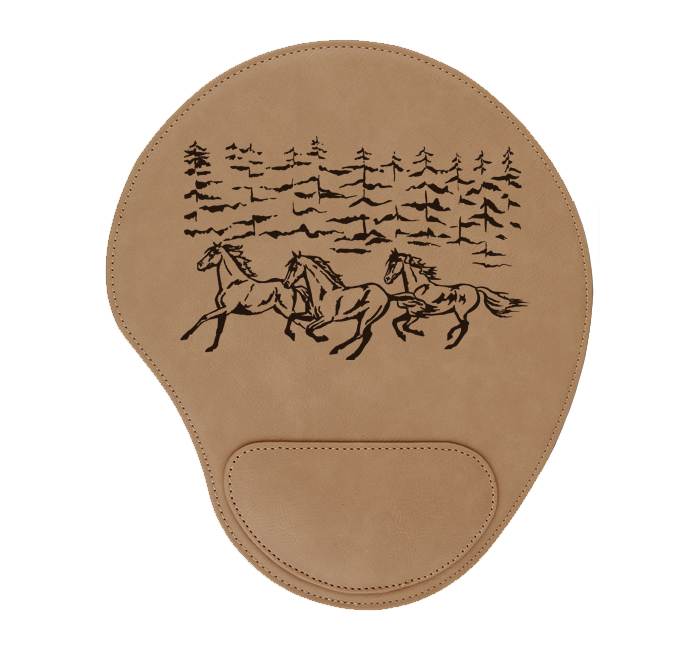 Personalized leatherette mouse pad with custom engraved horse design 3 and text.