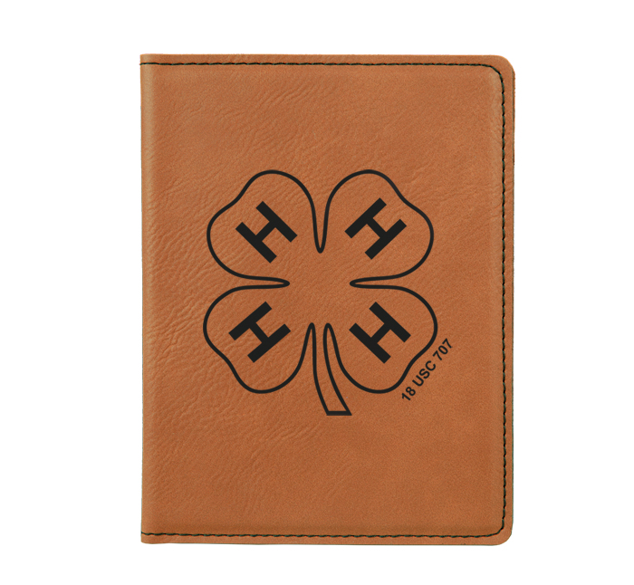Personalized leatherette passport cover with custom engraved 4-H logo and text.