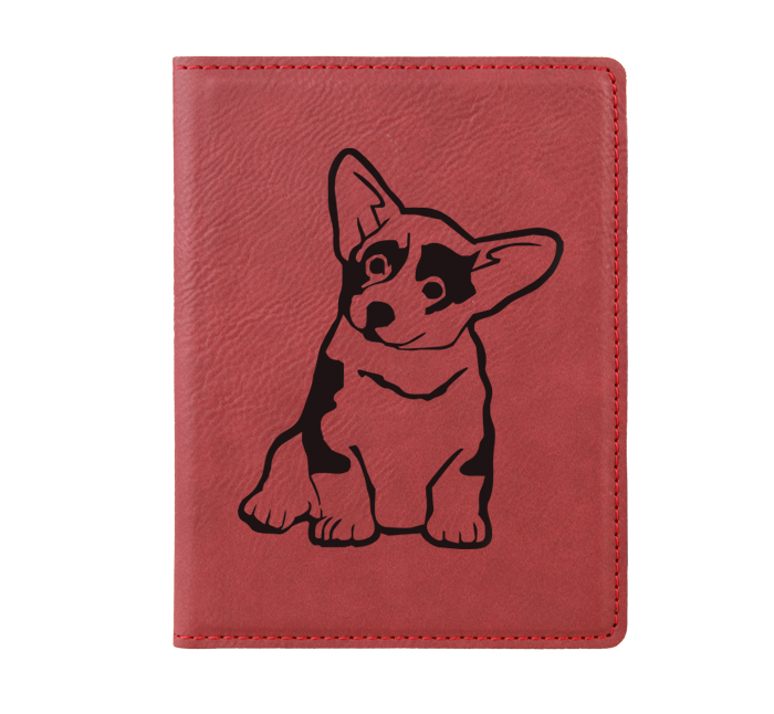 Personalized leatherette passport cover with custom engraved Corgi dog design and text.