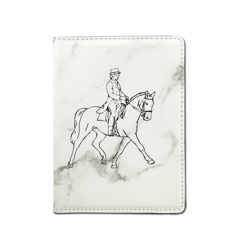 Personalized leatherette passport cover with custom engraved horse design and text.