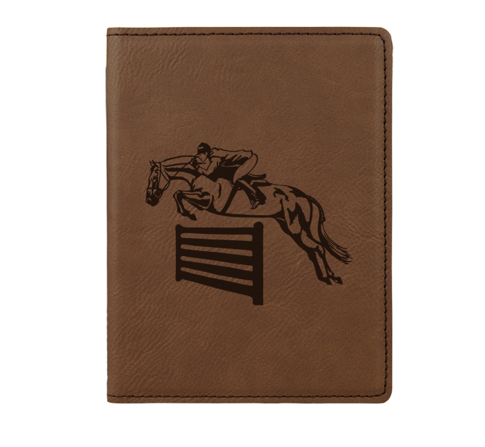 Personalized leatherette passport cover with custom engraved horse design 3 and text.