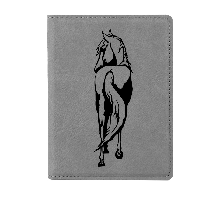 Personalized leatherette passport cover with custom engraved horse design 4 and text.