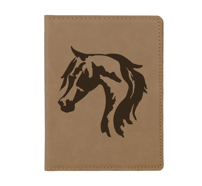 Custom leatherette passport cover with personalized text and horse design 5.