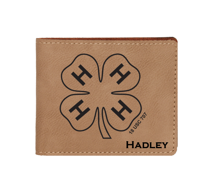 Personalized leatherette wallet with custom engraved 4-H logo and text.