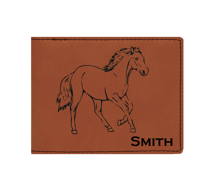 Custom engraved leatherette bi-fold wallet with horse design and custom text. Makes a great father's day gift, horse show award, corporate gift, graduation present or equestrian gift.