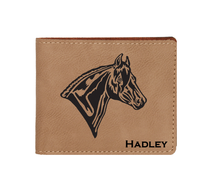 Custom engraved leatherette bi-fold wallet with horse design 2 and custom text. Makes a great father's day gift, horse show award, corporate gift, graduation present or equestrian gift.