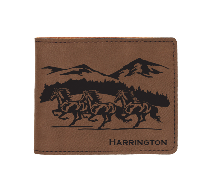 Custom engraved leatherette bi-fold wallet with horse design 3 and custom text. Makes a great father's day gift, horse show award, corporate gift, graduation present or equestrian gift.