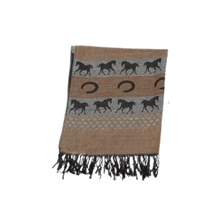Striped Running Horses and Horseshoes Brown Pashmina Scarf.