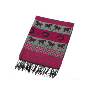 Striped Running Horses and Horseshoes Pink Pashmina Scarf.