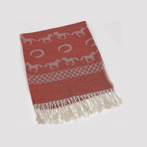 Running Horses and Horseshoes Rust Pashmina Scarf.