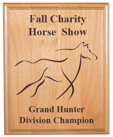 Custom Engraved Alder Plaque - Horses 2