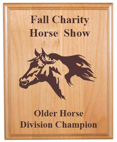 Custom Engraved Alder Plaque - Horses 3