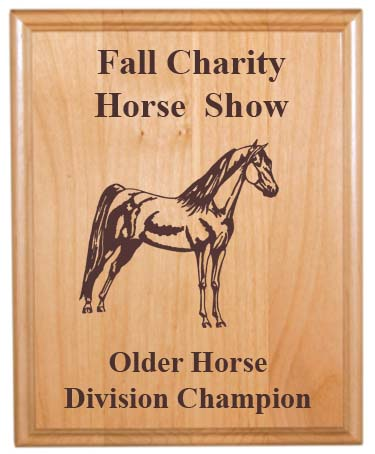 Custom Engraved Alder Plaque - Horses 4