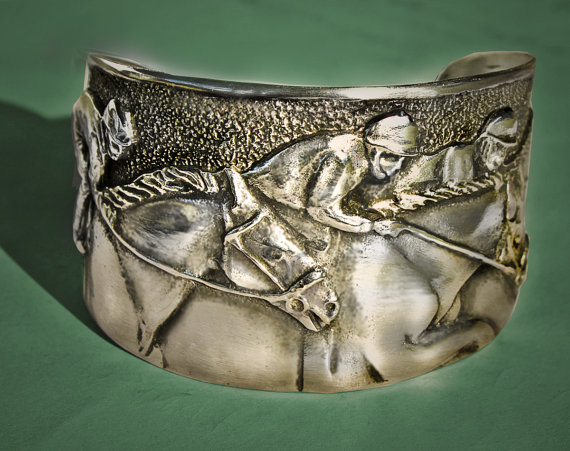 Horse racing derby day pewter cuff bracelet makes a great horse jewelry gift.