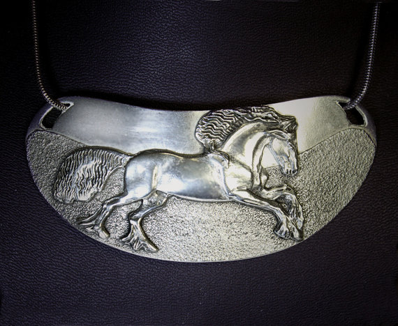 Friesian horse gorget pewter equestrian necklace - horse jewelry.