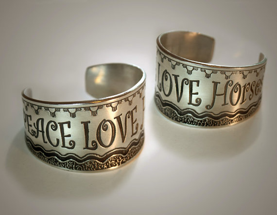 Peace, love and horses pewter cuff bracelet makes a great equestrian jewelry gift.