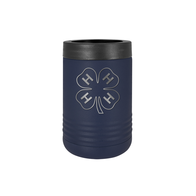 Custom engraved stainless steel vacuum insulated beverage holder with personalized text and 4-h Logo.