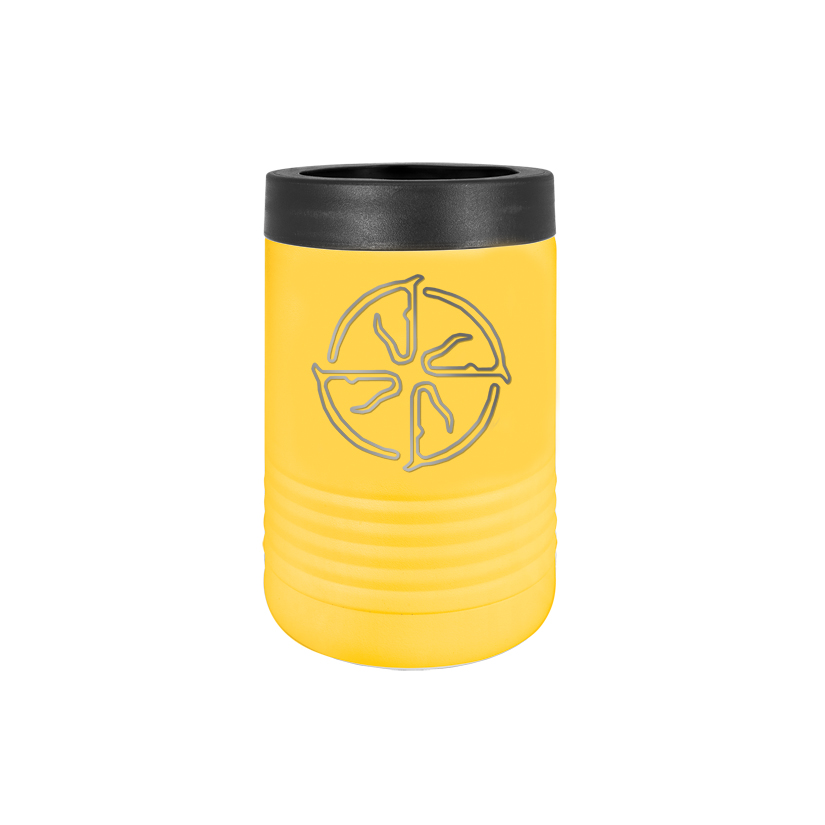Personalized stainless steel vacuum insulated beverage holder with custom engraved text and horse breed logo.