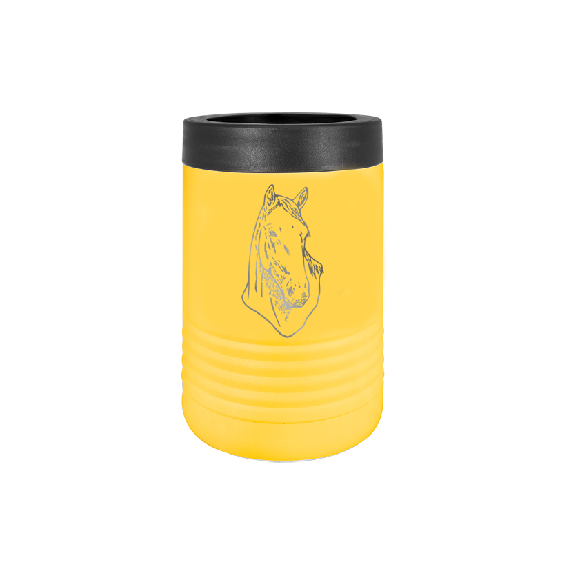 Custom engraved stainless steel vacuum insulated beverage holder with personalized text and horse design.
