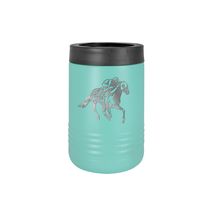 Personalized stainless steel vacuum insulated beverage holder with custom engraved text and horse design 2.