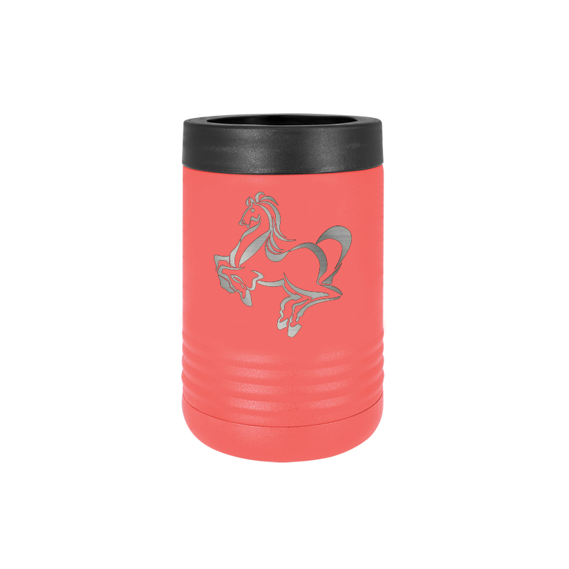 Custom engraved stainless steel vacuum insulated beverage holder with personalized text and horse design 3.