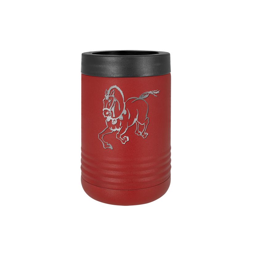 Personalized stainless steel vacuum insulated beverage holder with custom engraved text and horse design 6.