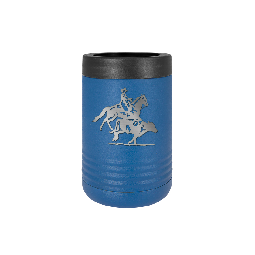 Personalized stainless steel vacuum insulated beverage holder with custom engraved text and rodeo design.