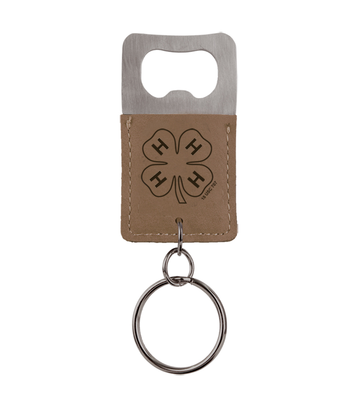 Custom engraved leatherette bottle opener key chain with personalized engraved text and custom 4-H logo.