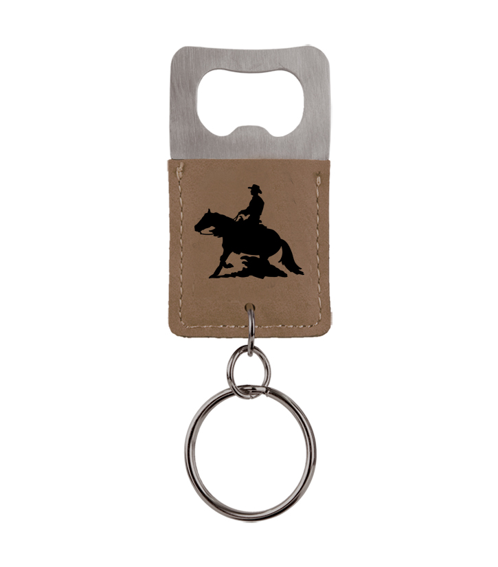 Custom engraved leatherette bottle opener key chain with personalized engraved text and custom rodeo design.