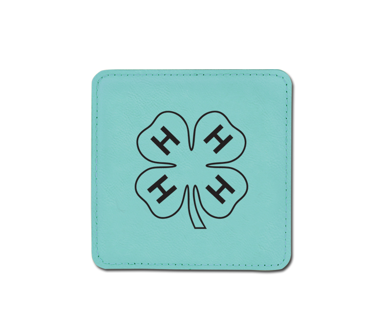 Leatherette coaster with the custom engraved 4-H logo of your choice and personalized.