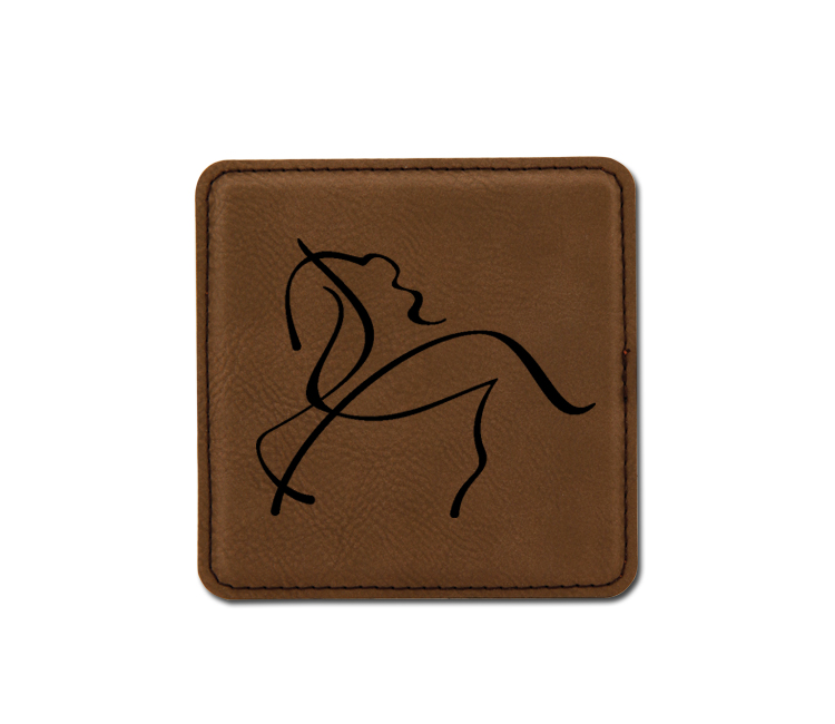 Personalized leatherette coaster with custom engraved horse design 2.