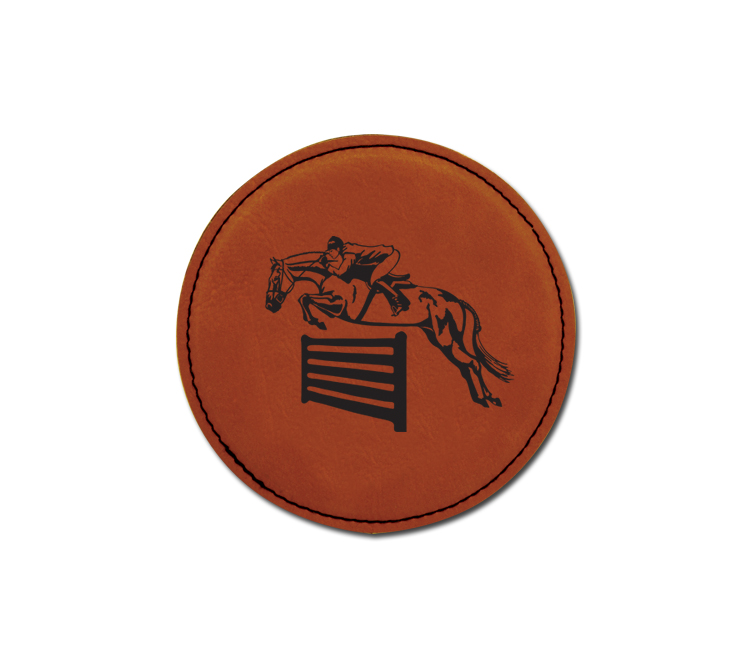 Personalized leatherette coaster with custom engraved horse design 3.