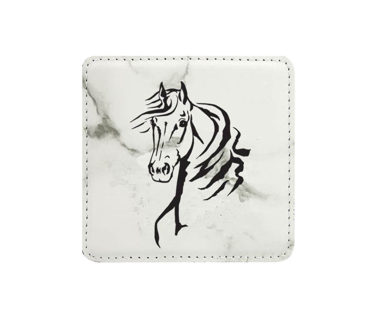 Personalized leatherette coaster with custom engraved horse design 4.