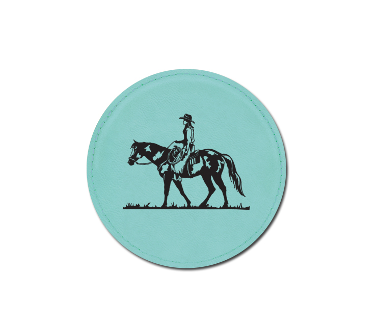 Custom engraved leatherette coaster with engraved horse design 5 and personalized text.