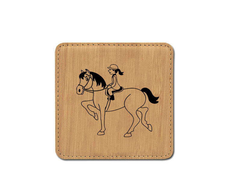 Personalized leatherette coaster with custom engraved horse design 6.