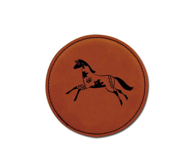 Personalized leatherette coaster with custom engraved horse design 7.
