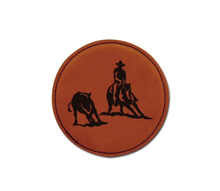 Personalized leatherette coaster with custom engraved rodeo design.