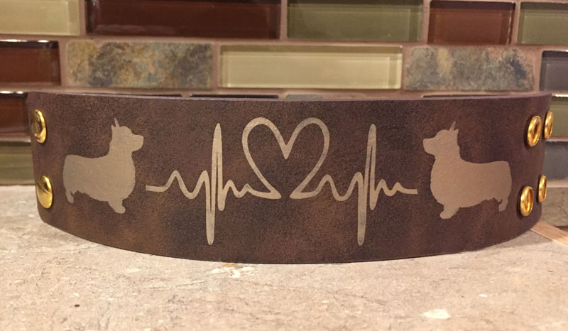 Engraved heartbeat bracelet with your choice of Corgi design.