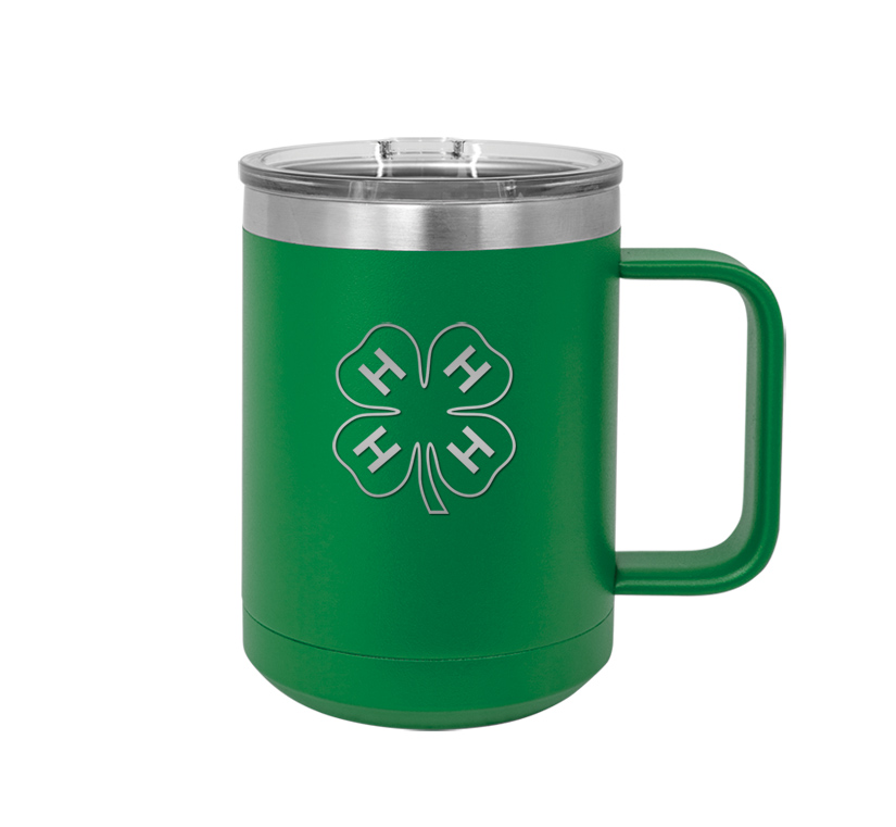 Stainless steel insulated mug with personalized engraved text and 4-H logo.