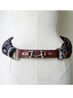 Leather Scarf Belt Strap Ring - Snaffle Bit