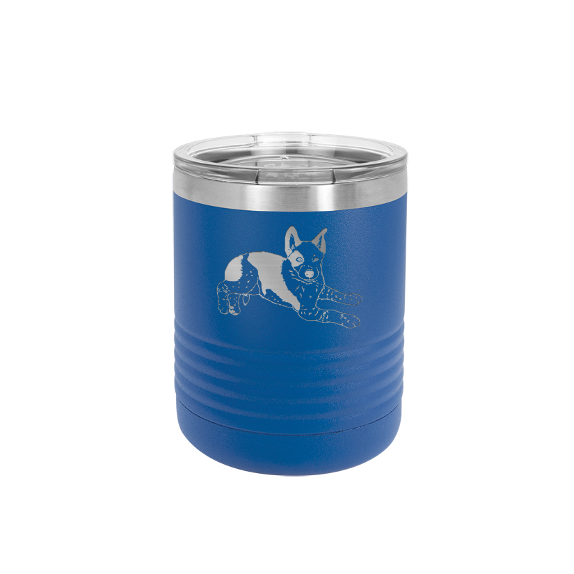 Custom engraved vacuum insulated 10 oz polar camel tumbler with your choice of herding dog design and personalized text.