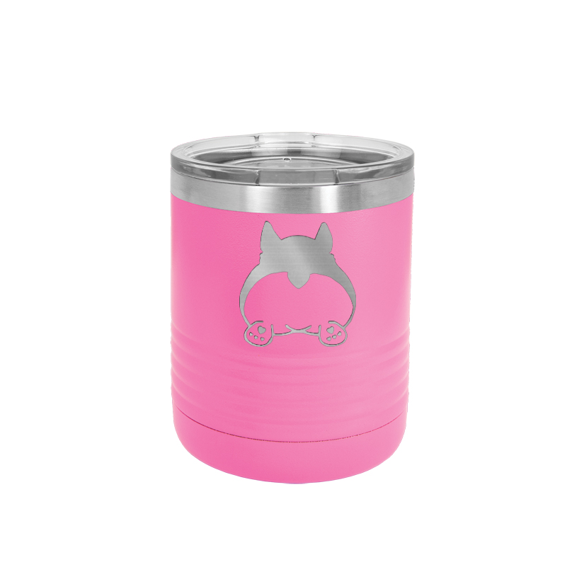 Personalized 10 oz vacuum insulated polar camel tumbler with your choice of corgi design and custom engraved text.