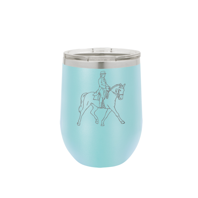 Personalized stemless stainless steel wine tumbler with custom engraved horse design and text.