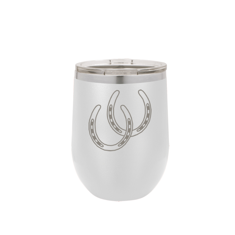 Personalized stemless stainless steel tumbler with custom engraved horse design 2 and text.