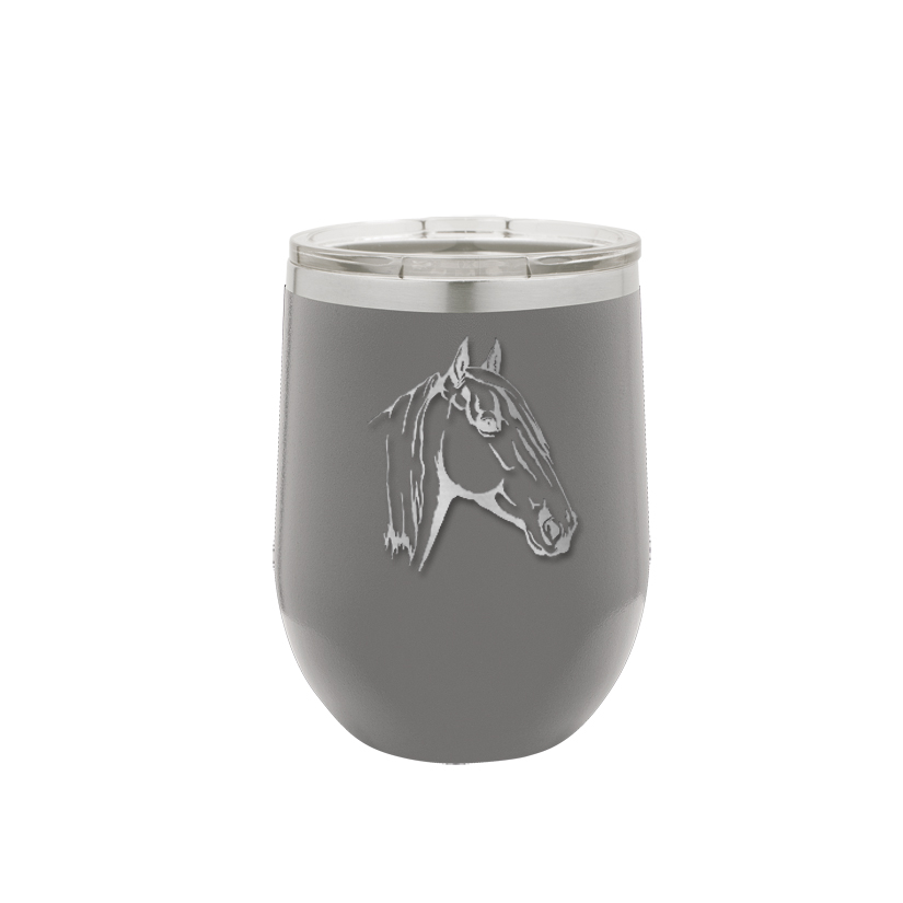 Personalized stemless stainless steel wine tumbler with custom engraved horse design 4 and text.