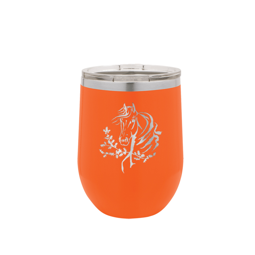 Personalized stemless stainless steel wine tumbler with custom engraved horse design 5 and text.