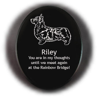Personalized Welsh Corgi dog design black marble memorial stone with engraved text.